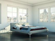 Quarto moderno com cama king size e decoração moderna Imagens de Stock Royalty Free