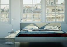 Quarto moderno com cama king size e decoração moderna Foto de Stock Royalty Free
