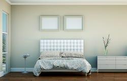 Quarto moderno com cama king size e decoração moderna Fotografia de Stock Royalty Free
