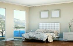 Quarto moderno com cama king size e decoração moderna Imagens de Stock