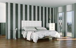 Quarto moderno com cama king size e decoração moderna Foto de Stock