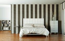 Quarto moderno com cama king size e decoração moderna Fotos de Stock