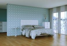 Quarto moderno com cama king size e decoração moderna Imagem de Stock