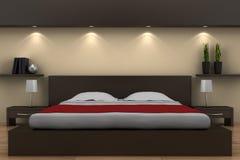Quarto moderno com cama marrom Fotografia de Stock