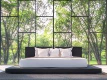 Quarto moderno com imagem da rendição da opinião 3d do jardim Foto de Stock