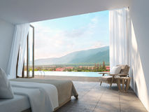 Quarto moderno com imagem da rendição do Mountain View 3d Foto de Stock