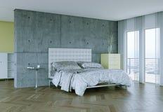 Quarto moderno com muro de cimento e decoração moderna Imagem de Stock
