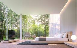 Quarto moderno com opinião do jardim na imagem da rendição da manhã 3d Foto de Stock