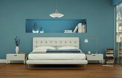 Quarto moderno com parede azul e decoração moderna Foto de Stock Royalty Free
