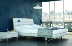 Quarto moderno com parede azul e decoração moderna Fotos de Stock Royalty Free