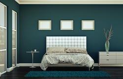 Quarto moderno com parede azul e decoração moderna Fotografia de Stock