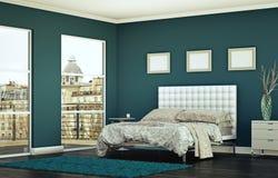 Quarto moderno com parede azul e decoração moderna Fotos de Stock