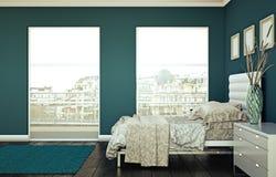 Quarto moderno com parede azul e decoração moderna Imagens de Stock