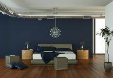 Quarto moderno com parede azul e decoração moderna Imagem de Stock Royalty Free