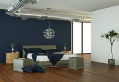 Quarto moderno com parede azul e decoração moderna Imagem de Stock