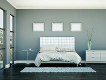 Quarto moderno com parede cinzenta e decoração moderna Imagem de Stock Royalty Free