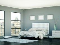 Quarto moderno com parede cinzenta e decoração moderna Imagens de Stock