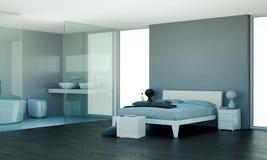 Quarto moderno com parede cinzenta e decoração moderna Foto de Stock Royalty Free