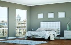 Quarto moderno com parede cinzenta e decoração moderna Fotografia de Stock