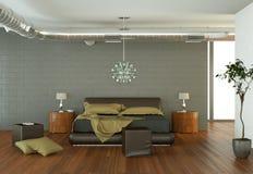 Quarto moderno com parede cinzenta e decoração moderna Foto de Stock