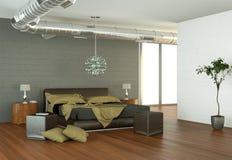 Quarto moderno com parede cinzenta e decoração moderna Fotos de Stock