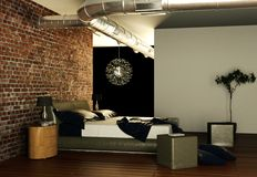 Quarto moderno com parede de pedra e decoração moderna Fotografia de Stock