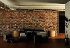 Quarto moderno com parede de pedra e decoração moderna Fotos de Stock