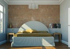Quarto moderno com parede marrom e decoração moderna Imagem de Stock Royalty Free