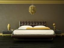 Quarto moderno com parede marrom e decoração moderna Fotografia de Stock