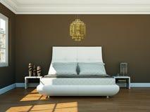Quarto moderno com parede marrom e decoração moderna Foto de Stock Royalty Free