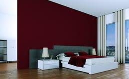 Quarto moderno com parede vermelha e decoração moderna Foto de Stock