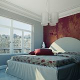Quarto moderno com parede vermelha e decoração moderna Imagem de Stock Royalty Free