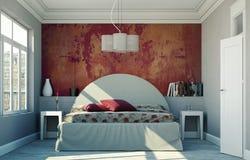 Quarto moderno com parede vermelha e decoração moderna Imagens de Stock Royalty Free