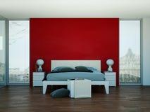 Quarto moderno com parede vermelha e decoração moderna Fotos de Stock