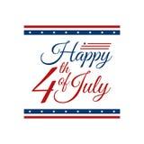Quarto moderno dell'insegna di intestazione del fondo della bandiera di celebrazione di festa dell'indipendenza luglio di Stati U royalty illustrazione gratis
