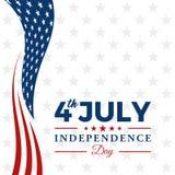 Quarto moderno dell'insegna di intestazione del fondo della bandiera di celebrazione di festa dell'indipendenza luglio di Stati U illustrazione vettoriale