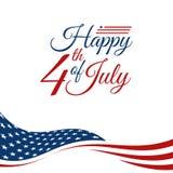 Quarto moderno dell'insegna di intestazione del fondo della bandiera di celebrazione di festa dell'indipendenza luglio di Stati U illustrazione di stock