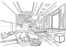 Quarto moderno interior do esboço arquitetónico Imagens de Stock