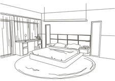 Quarto moderno interior do esboço arquitetónico linear Fotografia de Stock Royalty Free