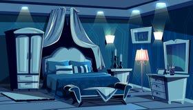 Quarto na noite com luz das lâmpadas do vetor ilustração royalty free
