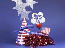 Quarto 4o feliz de decorações da tabela do partido de julho. Imagens de Stock Royalty Free