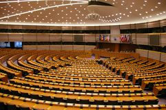 Quarto plenário do Parlamento Europeu Fotografia de Stock Royalty Free