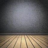 Quarto preto com assoalho de madeira Imagens de Stock