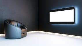 Quarto preto do showcase com a tevê da tecnologia 3d imagens de stock