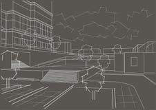 Quarto residencial do esboço arquitetónico no fundo cinzento Imagem de Stock Royalty Free