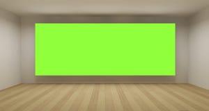 Quarto vazio com contexto verde da chave do croma Imagem de Stock