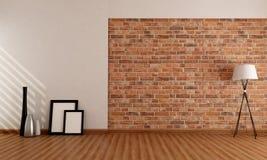 Quarto vazio com parede de tijolo Fotografia de Stock Royalty Free