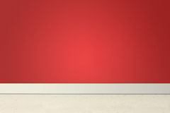 Quarto vazio com parede e linóleo vermelhos Fotografia de Stock Royalty Free