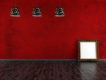 Quarto vazio vermelho e preto do vintage Fotos de Stock Royalty Free