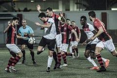 Quarts de finale de tasse de roche du Gibraltar - le football - Manchester 62 0 Photos stock